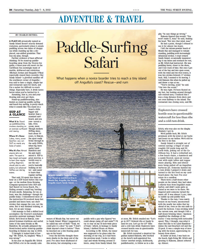 The Wall Street Journal Paddle-Surfing Safari in Anguilla