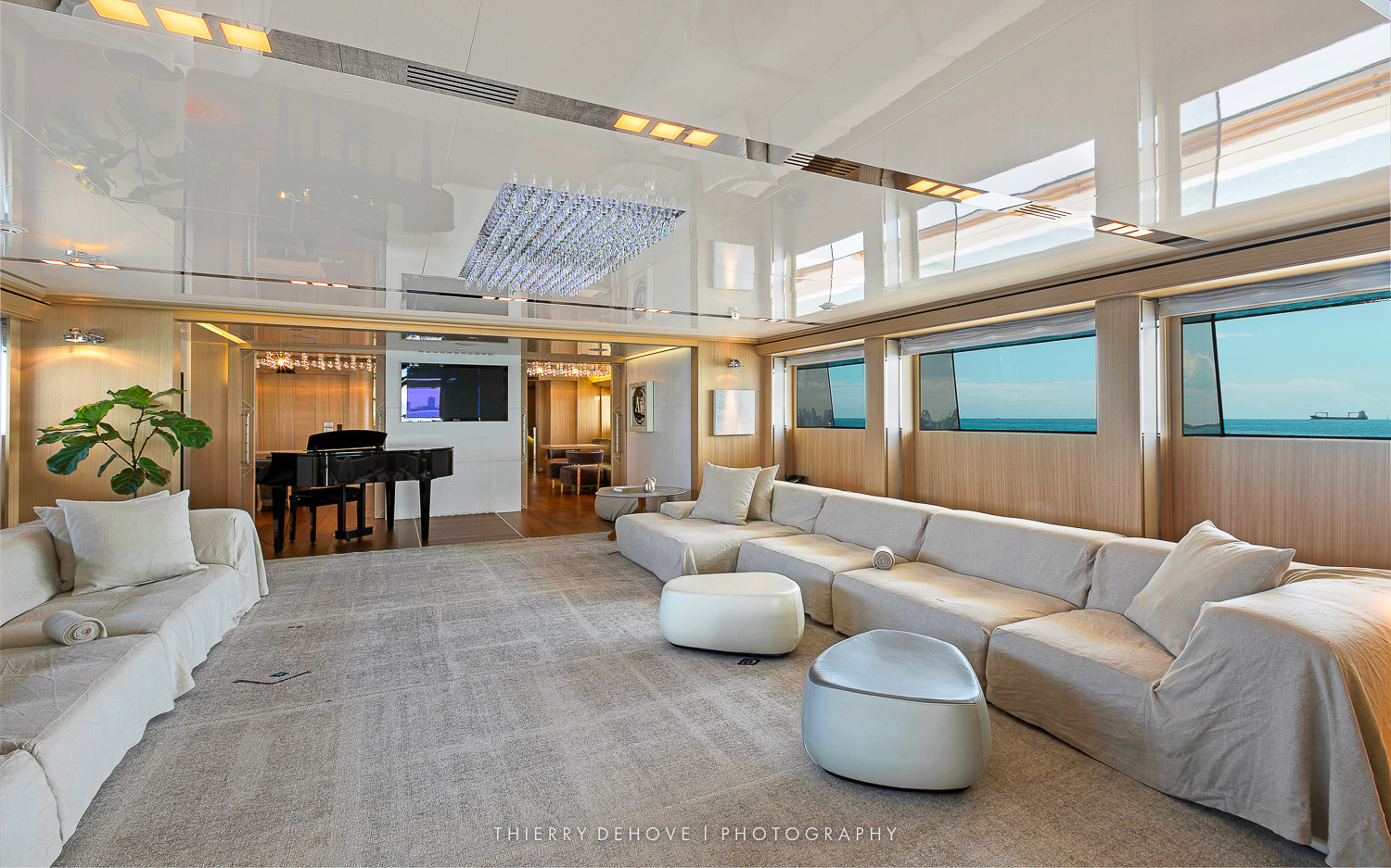 Main Saloon on Motor Yacht Vicky 194 by Baglietto, Italy