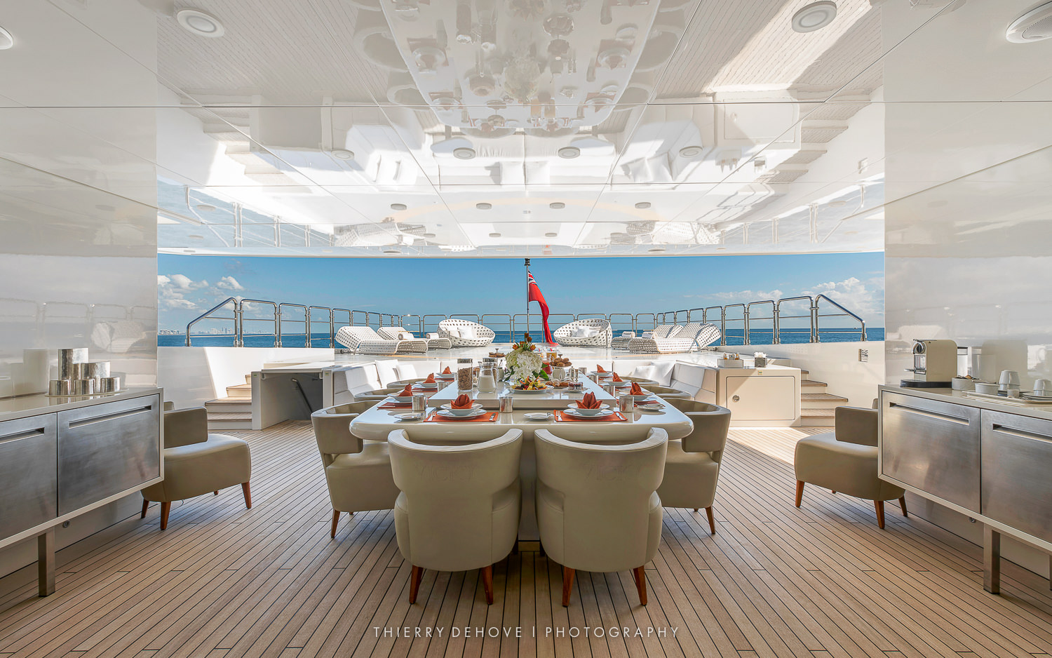 Exterior Dining on Motor Yacht Vicky 194 by Baglietto, Italy