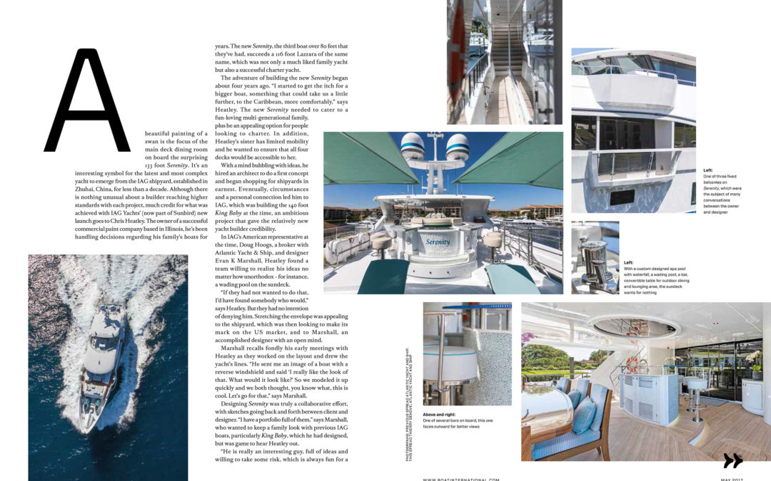 Luxury Motor Yacht Serenity 140 for Charter by AIG into Boat International, ShowBoats
