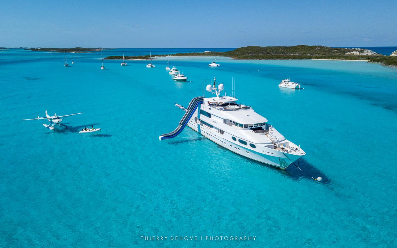 Aerial Photos of Motor Yacht Milestone built by Christensen in The Exumas, Bahamas