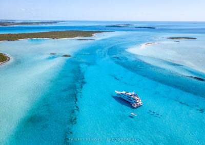 Aerial Photos of Motor Yacht Milestone built by Christensen in The Exumas, Bahamas